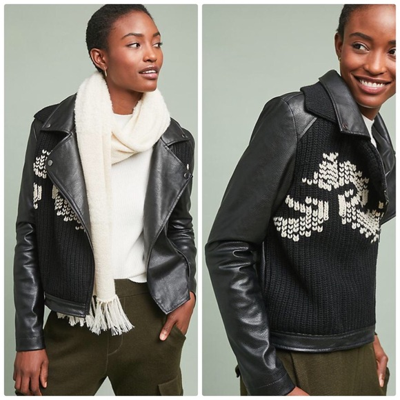 Anthropologie Jackets & Blazers - Ett:twa Vegan Leather Sweater Moto Jacket